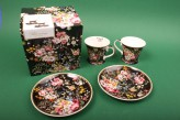 "Espressotassen-Set ""Black Blooming Opulence"""
