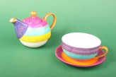 "Tea for one Set ""Charlana"" mit Goldauflage - handbemalt"