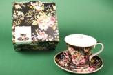 "Porzellantassen-Set ""Black Blooming Opulence"""